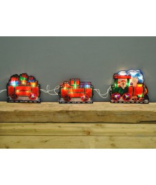Santa in Train Light Up Window Silhouette by Premier