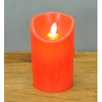 Battery Operated LED Dancing Flame Red Candle 13cm by Premier
