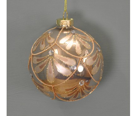 Champagne Glitter Pattern Christmas Bauble (10cm) by Premier