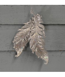 Silver Glitter Feather Trim Hanging Christmas Tree Decoration (15cm) by Premier