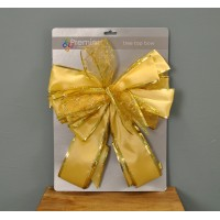 Gold Decorative Tree Top Bow Christmas Decoration by Premier
