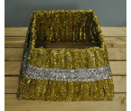 Gold Tinsel Christmas Tree Skirt Surround by Premier
