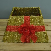 Gold Tinsel Christmas Tree Skirt Surround with Red Bow by Premier