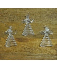 Set Of Three Hanging Glass Angel Christmas Decorations by Premier