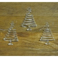 Set Of Three Hanging Glass Tree Christmas Decorations by Premier