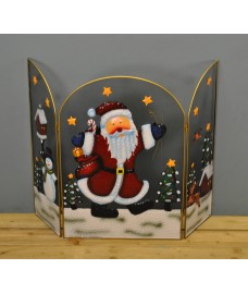 Santa with Sack Christmas Folding Fireguard Screen by Premier