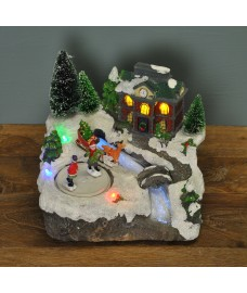 Fibre Optic Christmas Village Scene Ornament by Premier