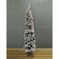 6.5ft (200cm) Snow Flocked Pencil Pine Artificial Christmas Tree by Premier