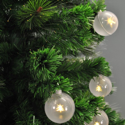 Fibre Optic Christmas Tree With Baubles.6ft 180cm Green Fibre Optic Artificial Christmas Tree With Baubles Berries Cones By Premier