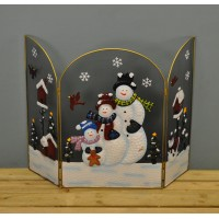 Snowman Christmas Folding Fireguard Screen by Premier