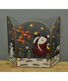 Santa with Sleigh Christmas Folding Fireguard Screen by Premier