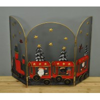 Red Christmas Train Folding Fireguard Screen by Premier