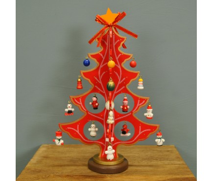 Wooden Christmas Tree with Decorations in Red or Green by Premier