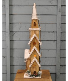 Traditional Nordic Wooden Lit Church Christmas Scene with LEDs by Premier