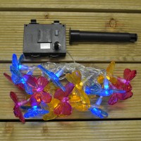 20 LED Butterfly String Lights (Dual Power Solar and Battery) by Gardman