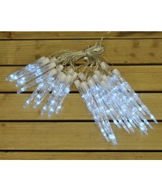 24 White Chaser Christmas LED Icicle Lights by Premier