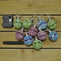 10 LED Mosaic Ball String Lights (Dual Power Solar and Battery) by Gardman