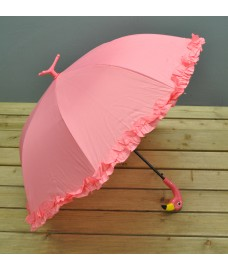 Pink Umbrella with Flamingo Design (Ruffles) by Fallen Fruits