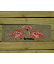 Welcome with Two Flamingos Doormat by Fallen Fruits