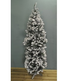 6.5ft (195cm) Snow Tipped Slim Artificial Christmas Tree by Kingfisher