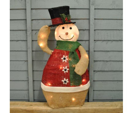 Snowman with Animated Hat Christmas LED Light Decoration (70cm) by Kingfisher