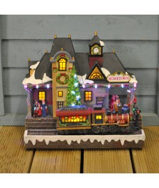 Christmas Scene Ornament with Moving Train & Sound by Kingfisher
