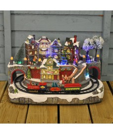 Large Christmas Scene Ornament with Moving Train & Sound by Kingfisher
