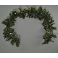 200cm Mantelpiece Pre Lit Christmas Garland with Pine Cones (Battery) by Kingfisher