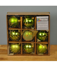Apple Green Decorated 6cm Bauble Decorations (Set of 9) by Premier