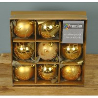 Gold Decorated 6cm Bauble Decorations (Set of 9)
