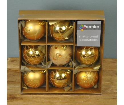 Gold Decorated 6cm Bauble Decorations (Set of 9) by Premier