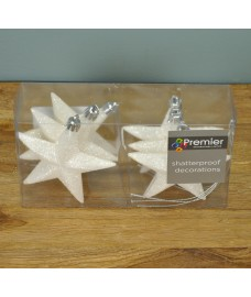 White Glitter 10cm Christmas Tree Stars (Set of 6) by Premier