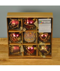 Cranberry Decorated 6cm Bauble Decorations (Set of 9) by Premier