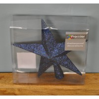 Midnight Blue Glitter Star Christmas Tree Topper (20cm)