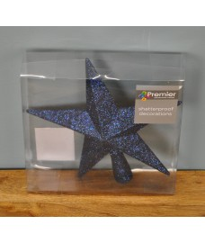 Midnight Blue Glitter Star Christmas Tree Topper (20cm) by Premier