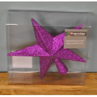 Purple Glitter Star Christmas Tree Topper (20cm) by Premier