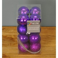 Purple Multi-Finish 5cm Bauble Decorations (Set of 16) by Premier