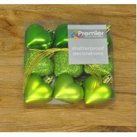 Apple Green Decorated 4cm Heart Bauble Decorations (Set of 9)