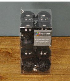 Black Multi-Finish 5cm Bauble Decorations (Set of 16) by Premier