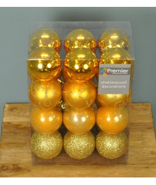 Gold Decorated 6cm Bauble Decorations (Set of 24) by Premier