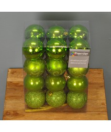 Apple Green Decorated 6cm Bauble Decorations (Set of 24) by Premier