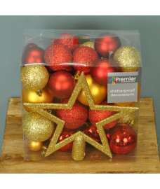Red & Gold Mixed Bauble Decoration Pack (Set of 50) by Premier