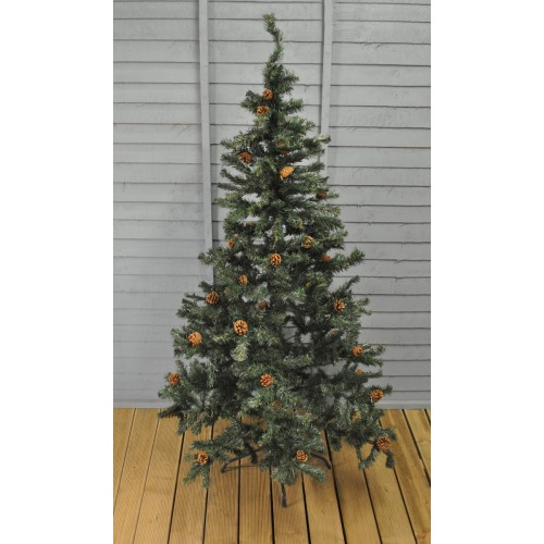 Artificial Christmas Tree With Pine Cones: 6ft (180cm) Green Whistler Artificial Christmas Tree With