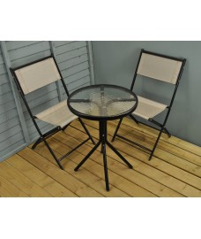 Portland Garden Bistro Set - Light Grey