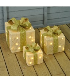 Set of 3 LED Light Up Glitter Cream Christmas Gift Boxes by Premier