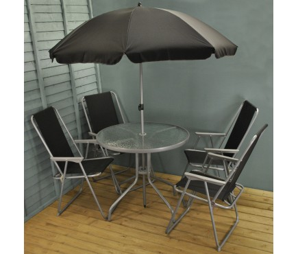 6 Piece Metal Garden Patio Furniture Set with Folding Chairs