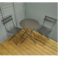 Carbon Grey Metal Garden Bistro Set