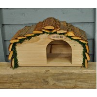 Wooden Hedgehog House With Bark Roof