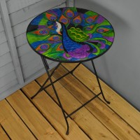 Extra Large Folding Drinks Side Garden Patio Table Peacock Design by Smart Garden