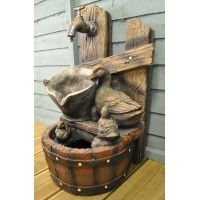 Wooden Casks with Duck Family Water Feature (Mains)
